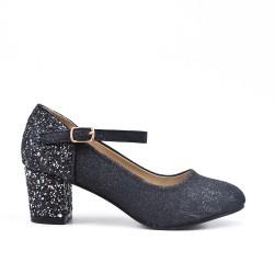 Zapatillas negras con tacones de lentejuelas para niña
