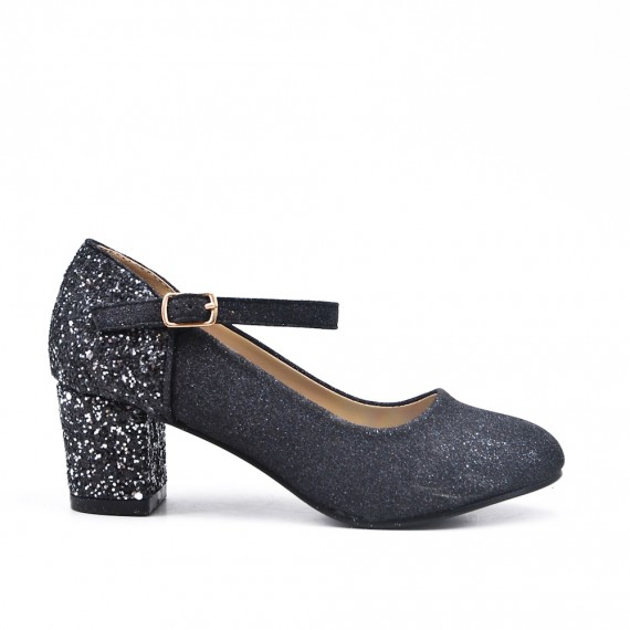 Black pumps with sequined heels for girls