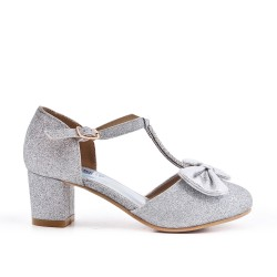 Girl's silver knotted pump