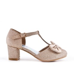 Girl's golden knotted pump