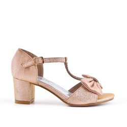 Champagne knotted sandal for girls