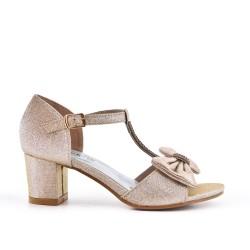 Sandale dorée à nœud pour fille