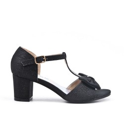 Black knotted sandal for girls