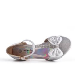 Sandalia plata anudada para niña