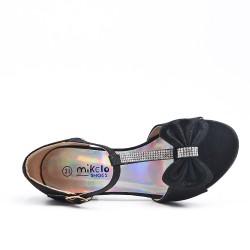 Sandale noir à nœud pour fille