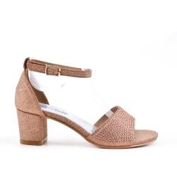 Sandale champange ornée de strass pour fille
