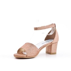 Champagne sandal with rhinestones for girls