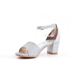 Sandale argent ornée de strass pour fille