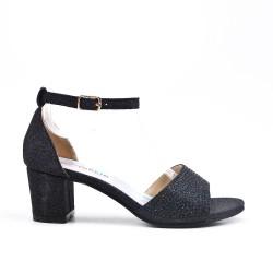 Sandale noire ornée de strass pour fille