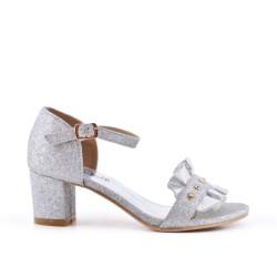 Sandale argent à volant pour fille