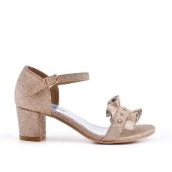 Sandale dorée à volant pour fille