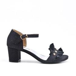 Sandale noire à volant pour fille