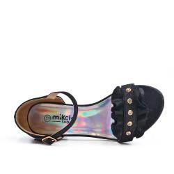 Girl's black sandal with shuttlecock