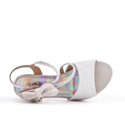 Sandale blanc à nœud pour fille