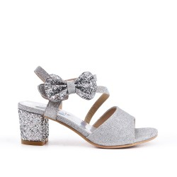Silver knotted sandal for girls