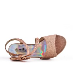 Sandale champagne à nœud pour fille