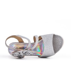Sandale argent à nœud pour fille