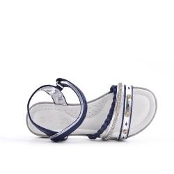 Sandale fille bleu en simili cuir