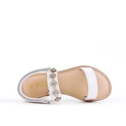 Sandal white girl with rhinestones