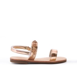 Sandal chamapgne girl with rhinestones