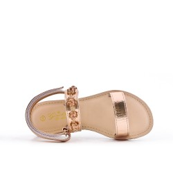 Sandale fille champagne à strass