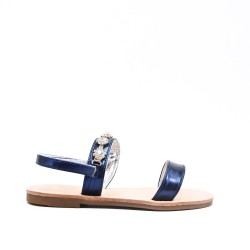 Sandale fille bleu à strass
