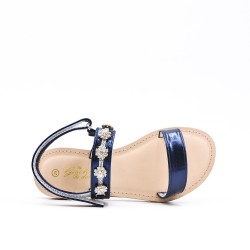 Sandal blue girl with rhinestones