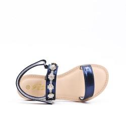 Sandalia azul con pedrería