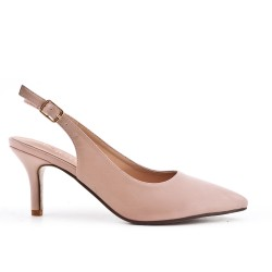 Pointed pink pumps in imitation leather with small heels
