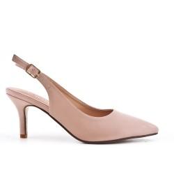 Zapatillas rosa puntiagudas en simil piel con tacones pequeños