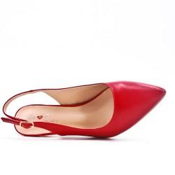 Escarpin pointu rouge en simili cuir à petit talon