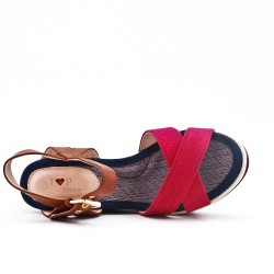 Wedge sandal in redcanvas