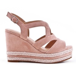 Pink faux suede wedge sandal