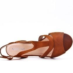 Camel sandal in faux suede