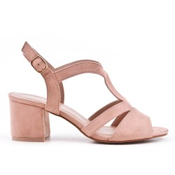 Pink faux suede sandals