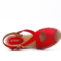 Red Wedge sandal with espadrille sole