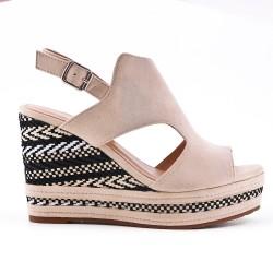 Beige faux suede wedge sandal