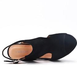 Sandalia de cuña de gamuza sintética negro