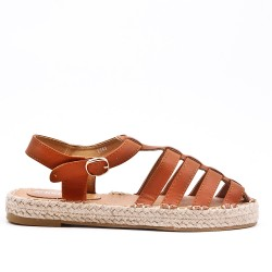 Camel sandal with espadrille sole