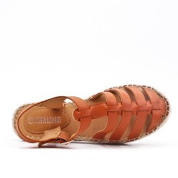Sandale camel à semelle espadrille