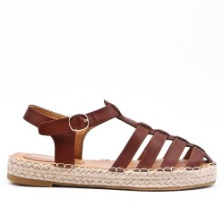 Brown sandal with espadrille sole