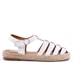 Sandale blanche à semelle espadrille