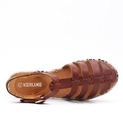 Sandale marron à semelle espadrille