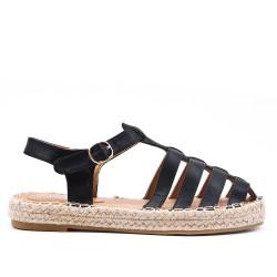 Sandale noire à semelle espadrille