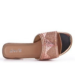 Available in 5 colors -Claquette decorated with rhinestones with heels