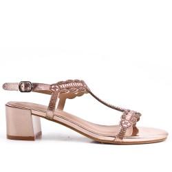 Champagne sandal with rhinestone heels