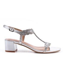 Sandale argent ornée de strass à talon