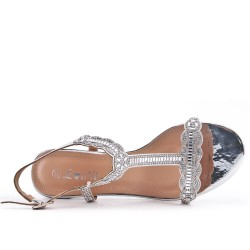 Silver sandal with rhinestone heels