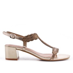 Golden sandal with rhinestone heels