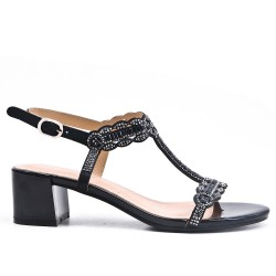 Sandale noire ornée de strass à talon